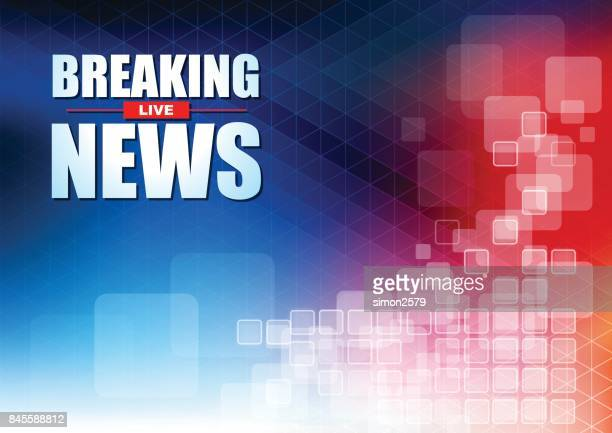 live breaking news headline in blue and red color pixels background - flash light stock illustrations, clip art, cartoons, & icons