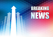 Live Breaking News headline in blue and red color pixels background