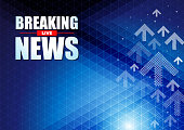 Live Breaking News headline in blue color pixels background