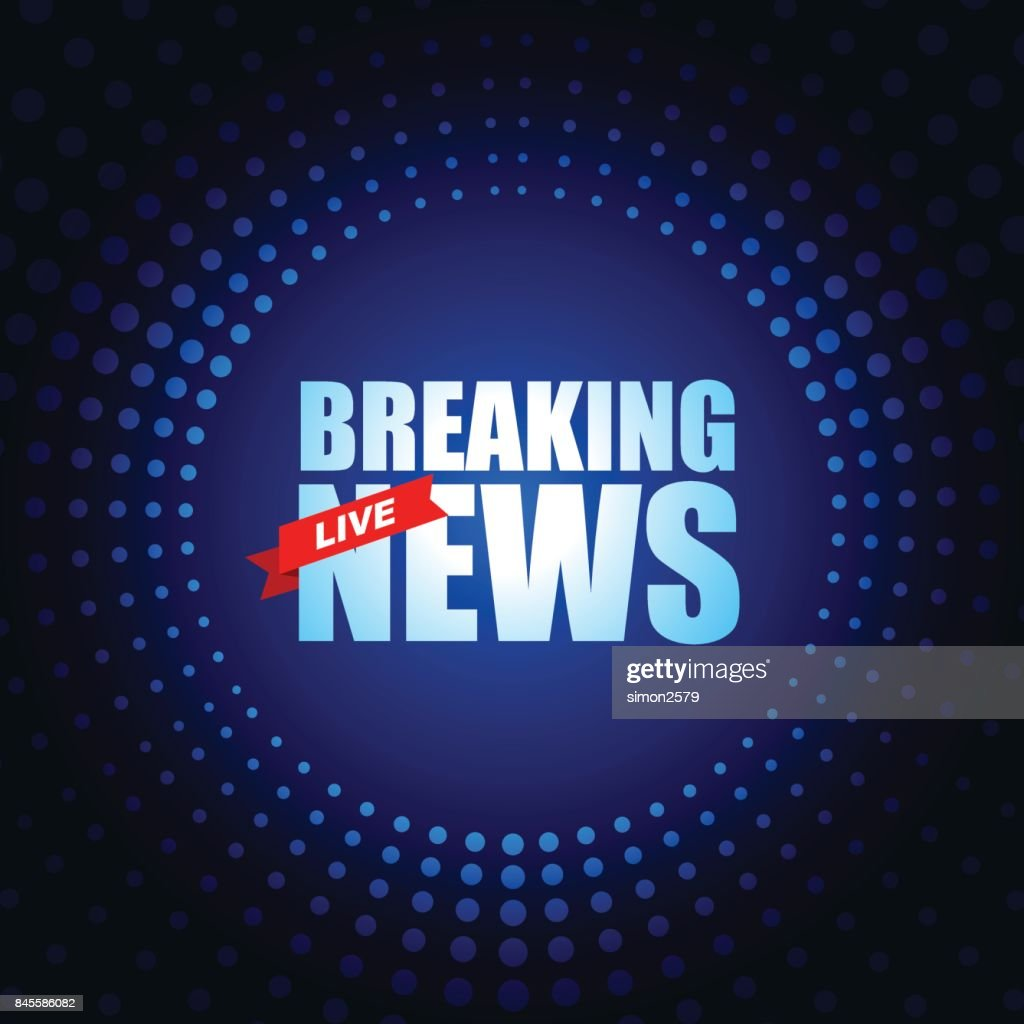 Live Breaking News Headline In Blue Dotted Color Background Vector Art