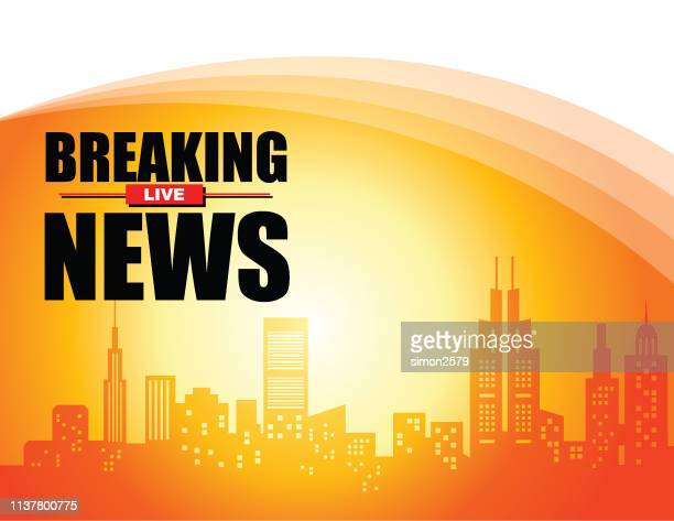 live breaking news headline in city view color background - tv reporter stock illustrations, clip art, cartoons, & icons