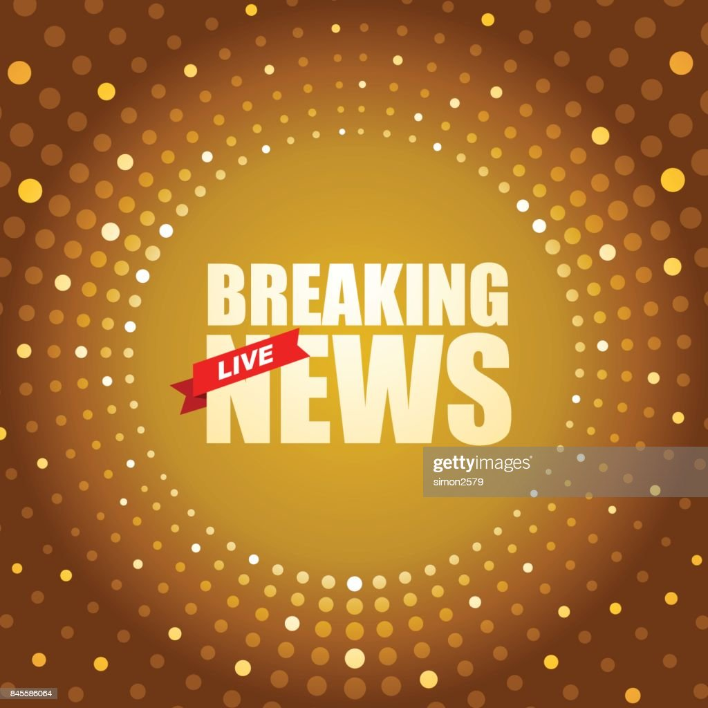 Live Breaking News Headline In Gold Dotted Colored Background Vector Art