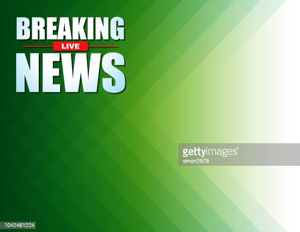 live breaking news headline in green color background - tv reporter stock illustrations, clip art, cartoons, & icons