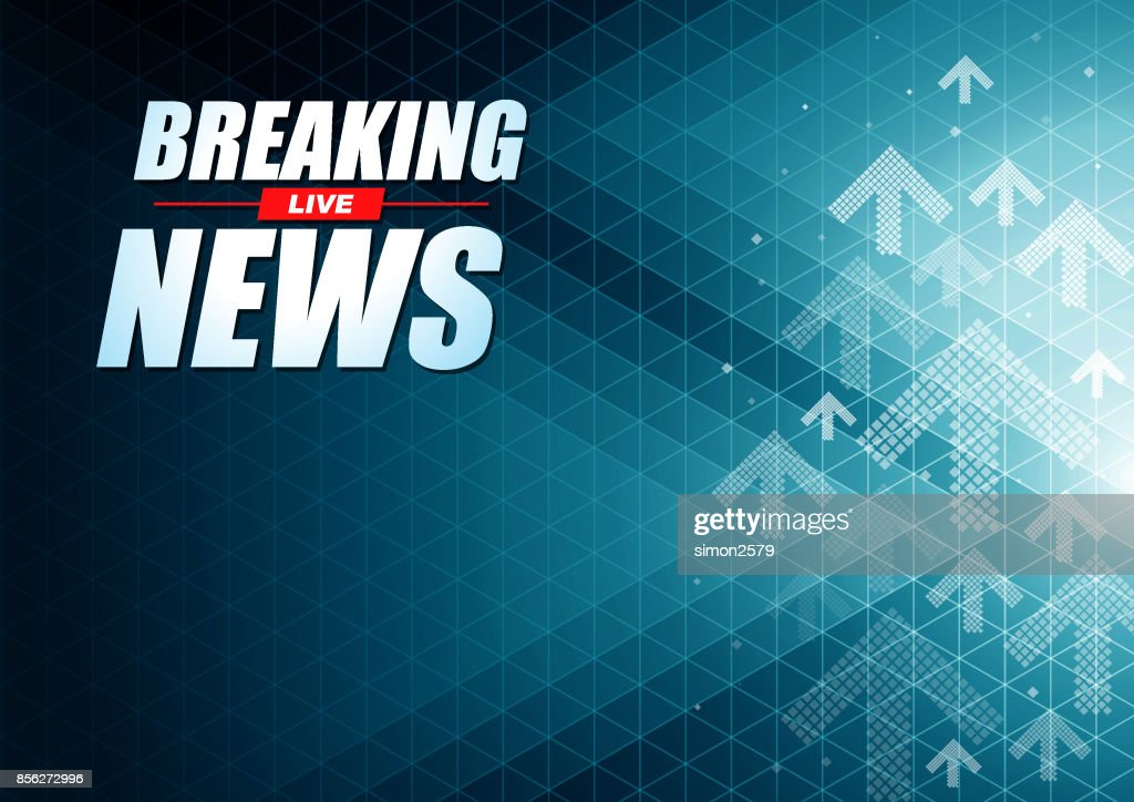 Live Breaking News headline in green color pixels background