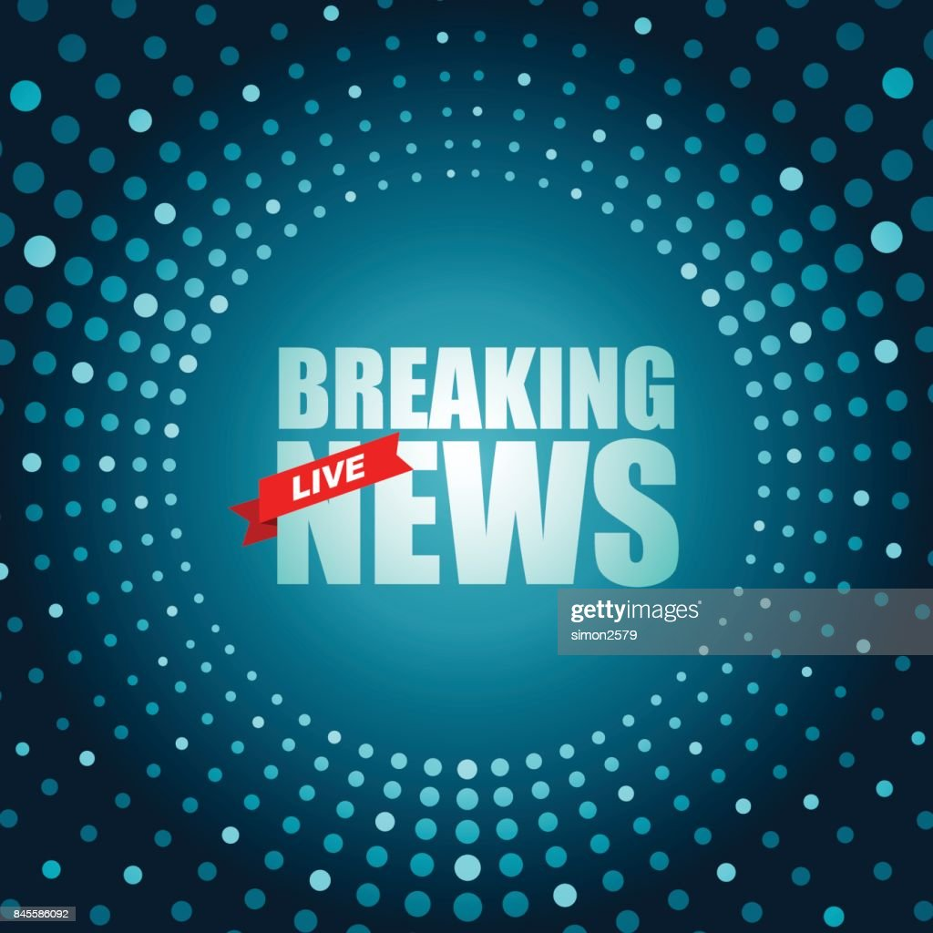 Live Breaking News Headline In Green Dotted Color Background Vector Art
