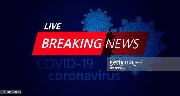 live breaking news schlagzeile in roter und blauer farbe mit virus covid-19 hintergrund - nachrichtenereignis stock-grafiken, -clipart, -cartoons und -symbole