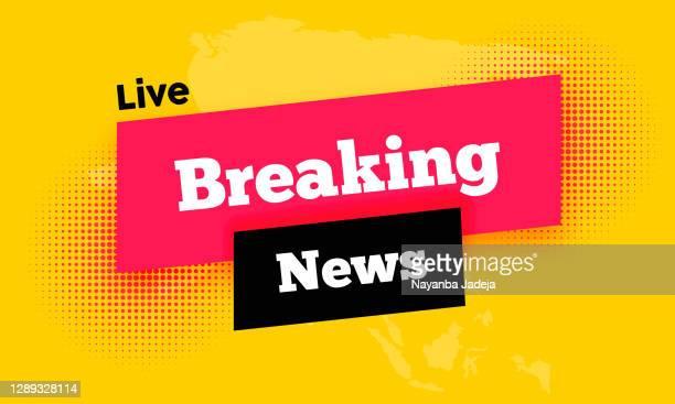 live breaking news schlagzeile mit schwarzer und rosa farbe hintergrund-illustration - nachrichtenereignis stock-grafiken, -clipart, -cartoons und -symbole