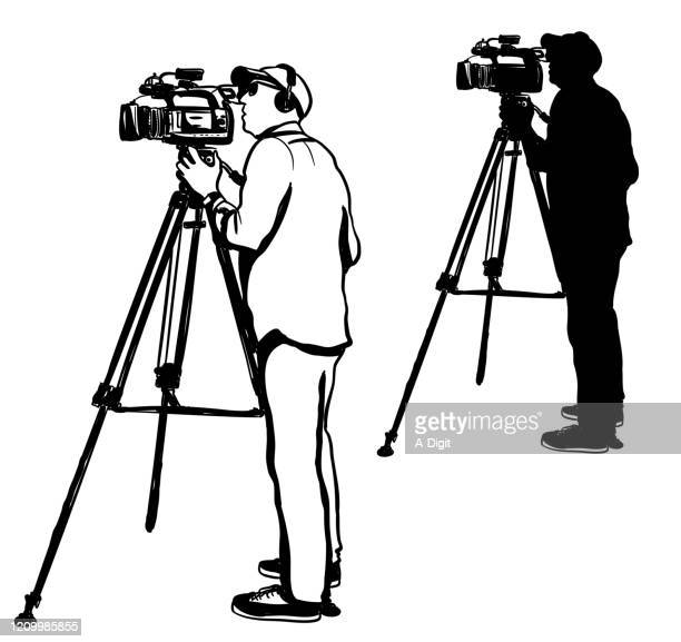 live broadcast cameraman silhouette - ultra high definition television stock illustrations