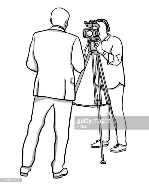 live broadcast news source - film crew stock illustrations