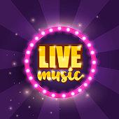 Live music banner design. Vector Illustration.
