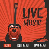 Live music poster with a screaming guitar. Vintage illustration