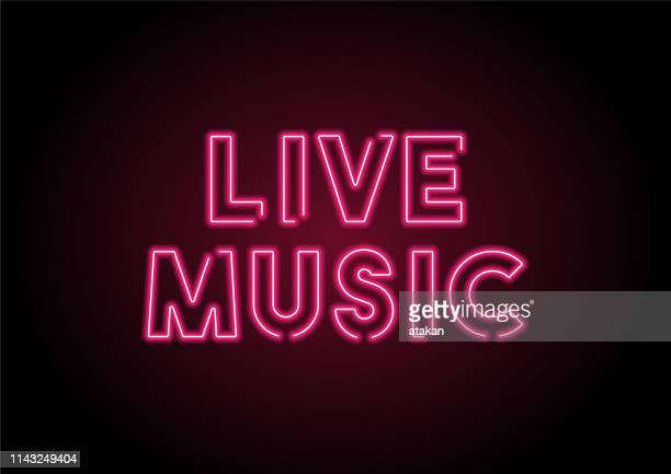 live music red neon light on black wall - vitality stock illustrations