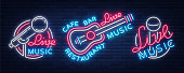 Live music set of neon signs vector icons, poster, emblem for live music festivals, music bars, karaoke, night clubs. Collection of templates for flyers, banners, invitations, brochures and covers