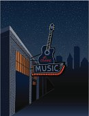 Live Music Sign in the City