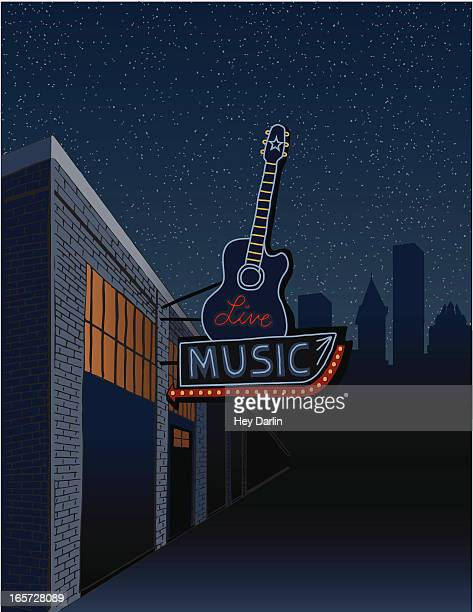 live music sign in the city - country and western stock illustrations