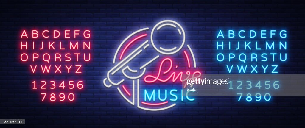 Live musical vector neon icon, sign, emblem, symbol poster with microphone. Bright banner poster, neon bright sign, nightlife club advertising, karaoke, bar and other institutions with music. Editing text neon sign