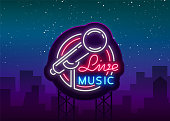 Live musical vector neon  , sign, emblem, symbol poster with microphone. Bright banner poster, neon bright sign, nightlife club advertising, karaoke, bar and other institutions. Billboard