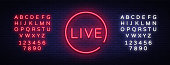 Live neon sign vector. Live Stream design template neon sign, light banner, neon signboard, nightly bright advertising, light inscription. Vector illustration. Editing text neon sign