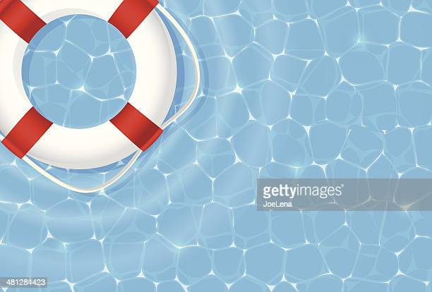 live preserver in swimming pool - buoy stock illustrations, clip art, cartoons, & icons