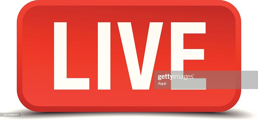 Live red 3d square button isolated on white