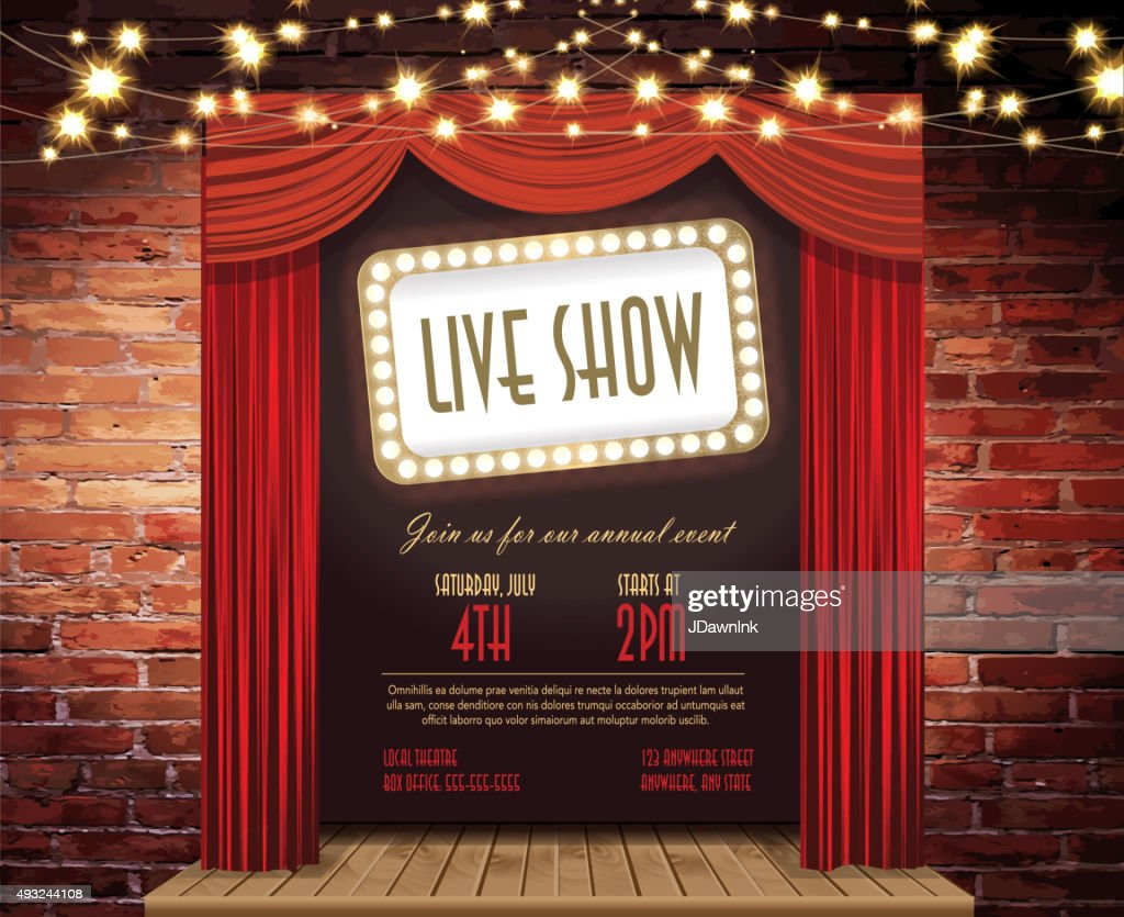 Live show Stage Rustic brick wall, elegant string lights, curtains : stock illustration