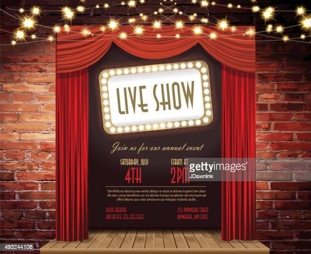 live show stage rustic brick wall, elegant string lights, curtains - brick stock illustrations