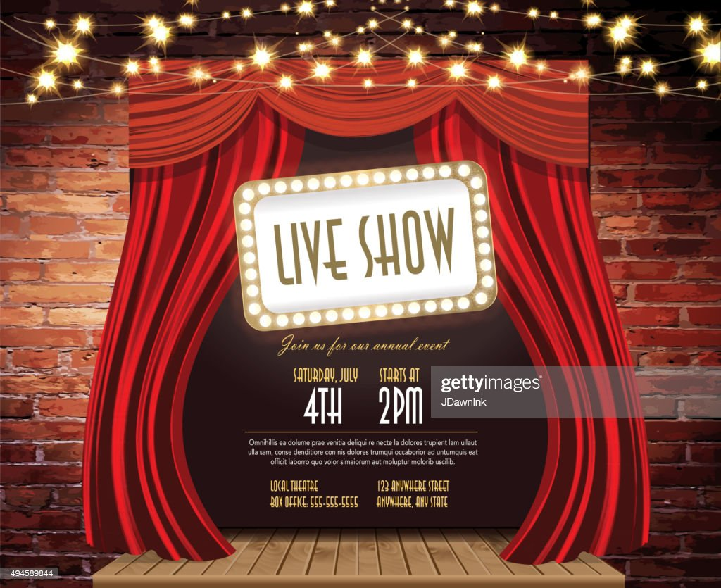 Live show Stage Rustic brick wall,  string lights, open curtains : stock illustration