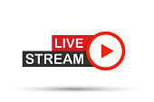Live stream flat logo - red vector design element with play button. Vector illustration