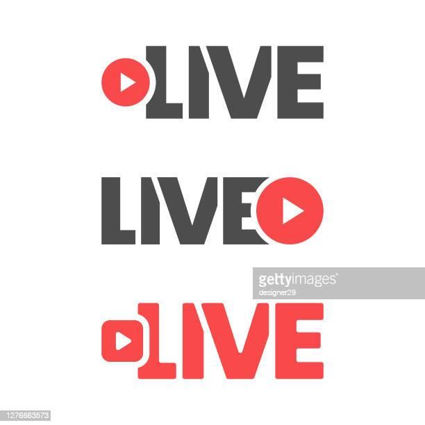 live stream icon flat design. - live broadcast stock illustrations