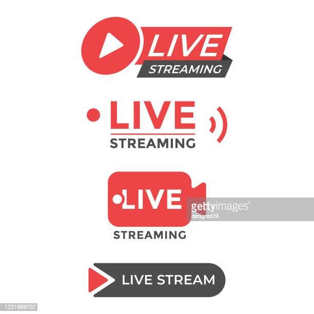 live stream icon set flat design. - live streaming stock illustrations