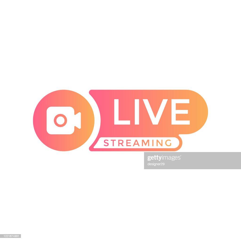 Design vetorial de fluxo de transmissão ao vivo. : Ilustração