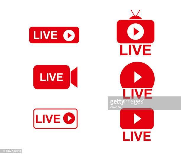 stockillustraties, clipart, cartoons en iconen met live stream-logo - live evenement