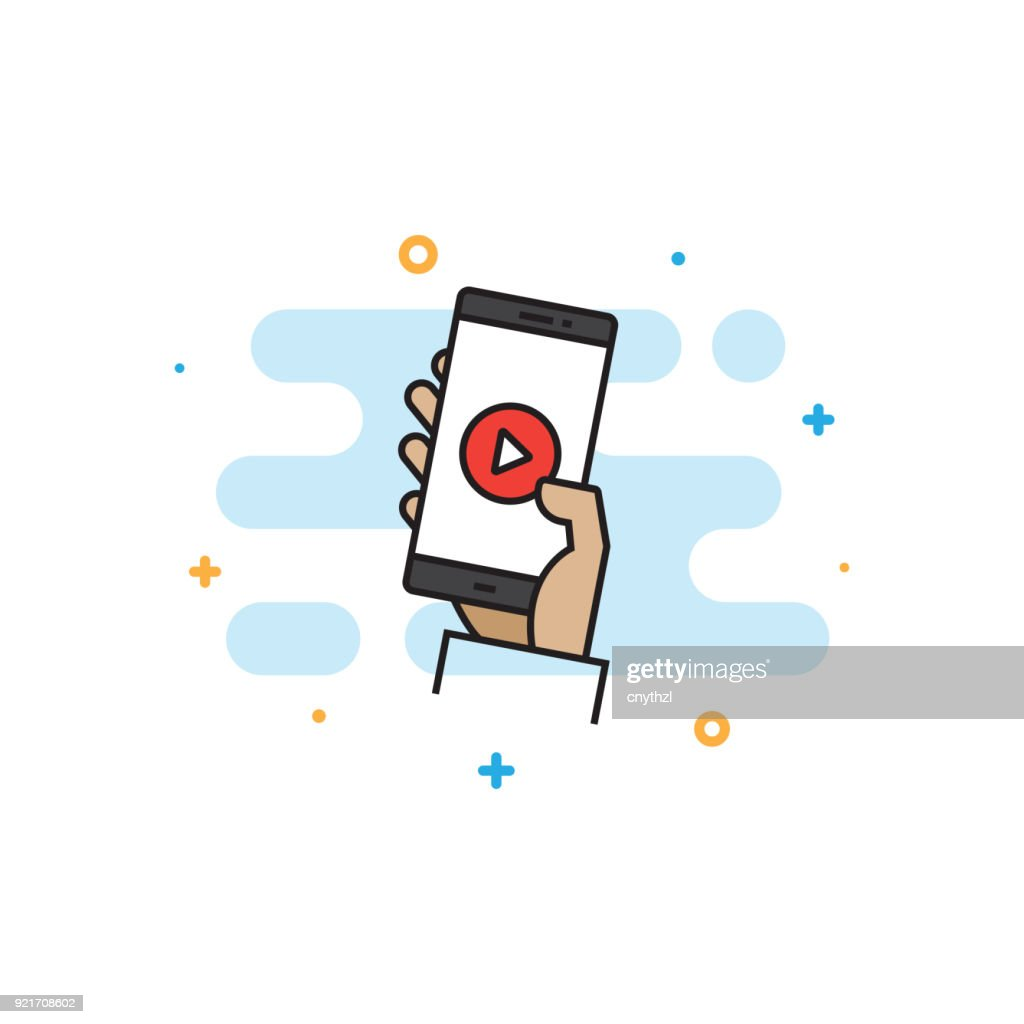 Live Streaming Flat Line Icon : stock illustration