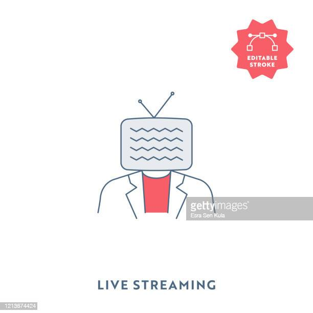 live streaming single flat icon with editable stroke and pixel perfect. - webcam media apparaat stock illustrations