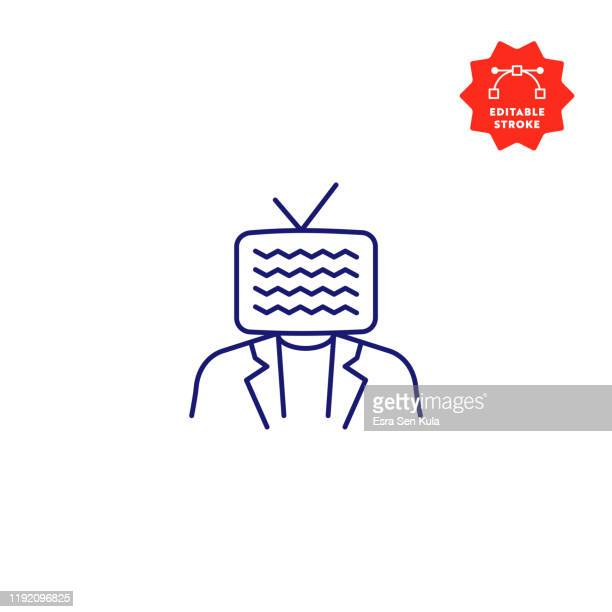live streaming single line icon with editable stroke and pixel perfect. - webcam media apparaat stock illustrations