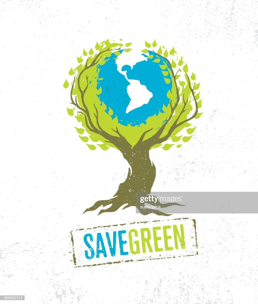 Live Think Green Recycle Reduce Reuse Vector Eco Poster Concept on Grunge Organic Background