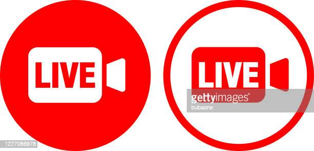 live video icon - live broadcast stock illustrations
