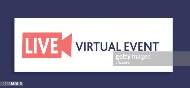 live virtual event icon on horizontal banner - webcam media apparaat stock illustrations