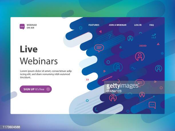 live webinar website template - dotted line stock illustrations