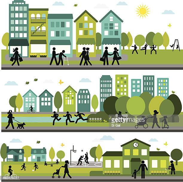 lively and active city - house exterior stock illustrations, clip art, cartoons, & icons