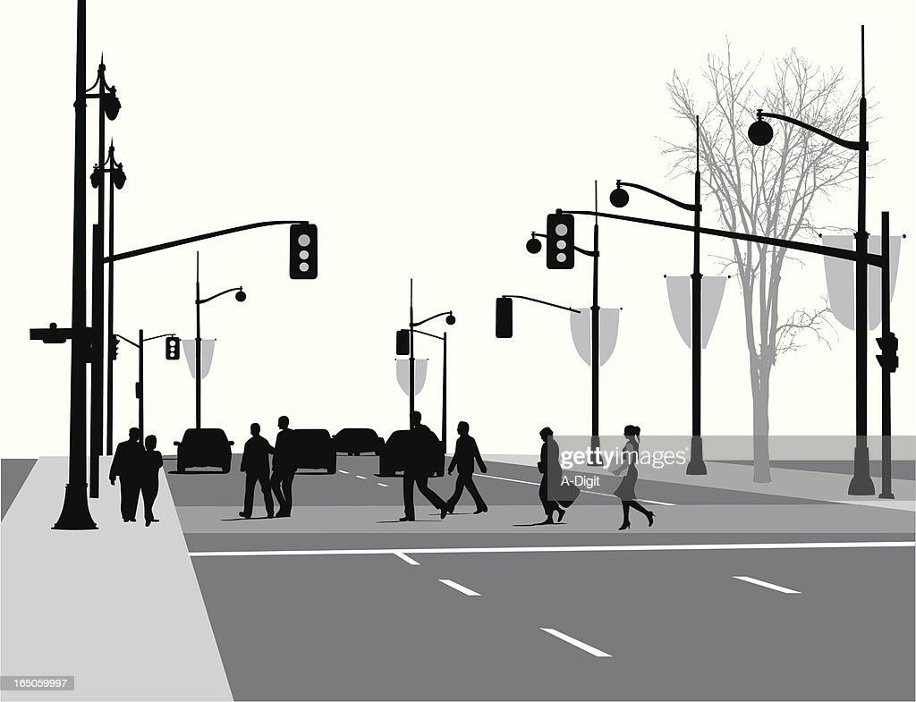 Lively Street Vector Silhouette