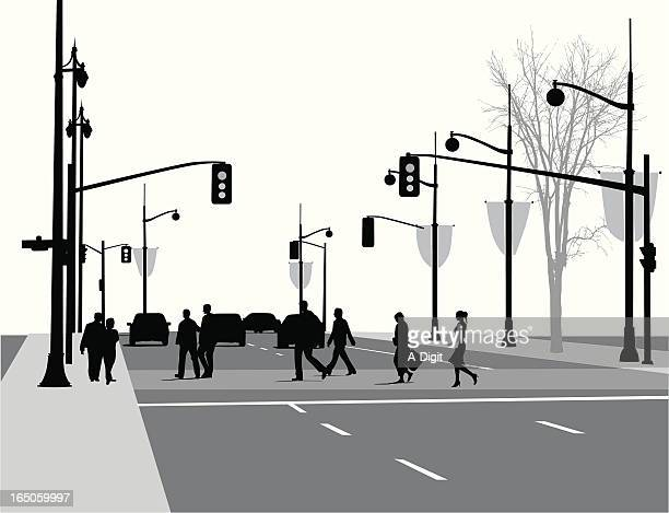 lively street vector silhouette - stoplight stock illustrations, clip art, cartoons, & icons