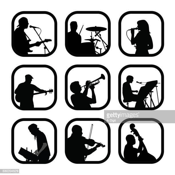 livemusicians - bass instrument stock illustrations, clip art, cartoons, & icons