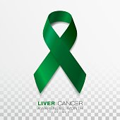 Liver Cancer Awareness Month. Emerald Green Color Ribbon Isolated On Transparent Background. Vector Design Template For Poster.