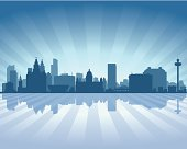 Liverpool England Blue City skyline silhouette