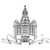 Liverpool Liver Building, England, UK. City label.