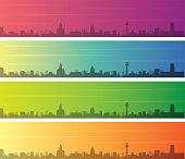 Liverpool Multiple Color Gradient Skyline Banner