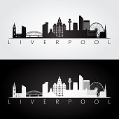 Liverpool skyline and landmarks silhouette, black and white design, vector illustration.