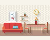 Living and dining room flat illustration