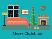 Living room, Christmas tree, fireplace and sofa. Vector flat illustration